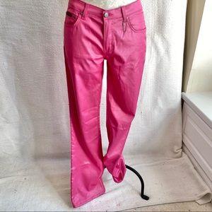 Vintage 90s Shiny Pink Stretchy Rave Costume Pants